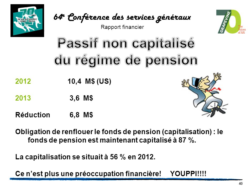 40 2012 10,4 M$ (US) 2013 3,6 M$ Réduction 6,8 M$ Obligation de renflouer le fonds de pension (capitalisation) : le fonds de pension est maintenant ca