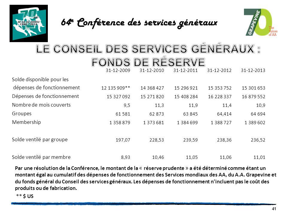 41 Par une résolution de la Conférence, le montant de la « réserve prudente » a été déterminé comme étant un montant égal au cumulatif des dépenses de fonctionnement des Services mondiaux des AA, du A.A.