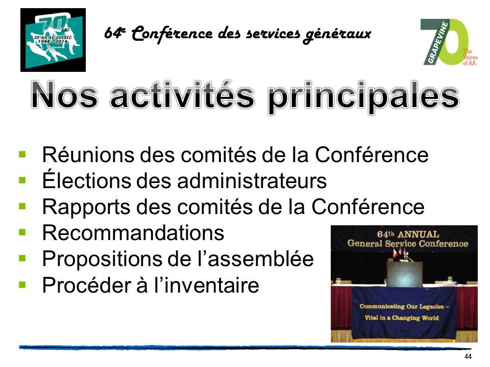 44  Réunions des comités de la Conférence  Élections des administrateurs  Rapports des comités de la Conférence  Recommandations  Propositions de l'assemblée  Procéder à l'inventaire 64 e Conférence des services généraux