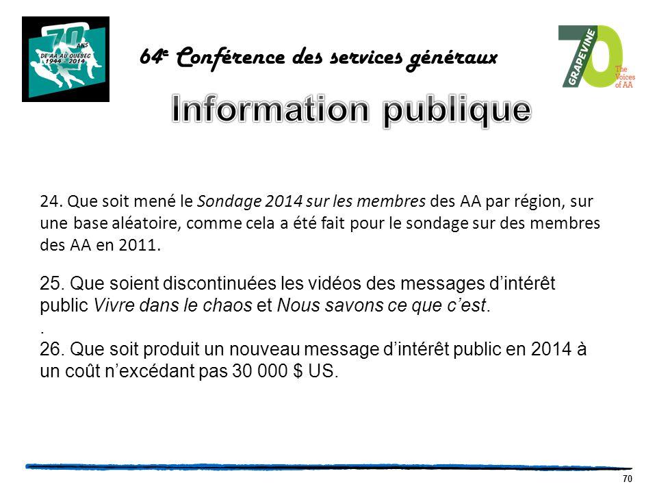 70 64 e Conférence des services généraux 24.