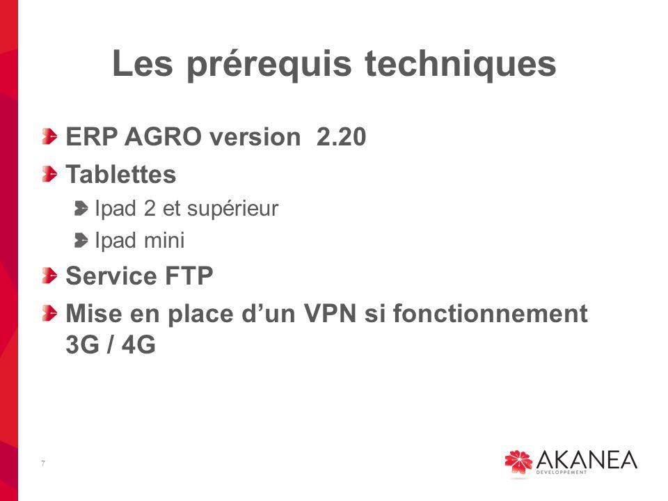 Les prérequis techniques ERP AGRO version 2.20 Tablettes Ipad 2 et supérieur Ipad mini Service FTP Mise en place d'un VPN si fonctionnement 3G / 4G 7