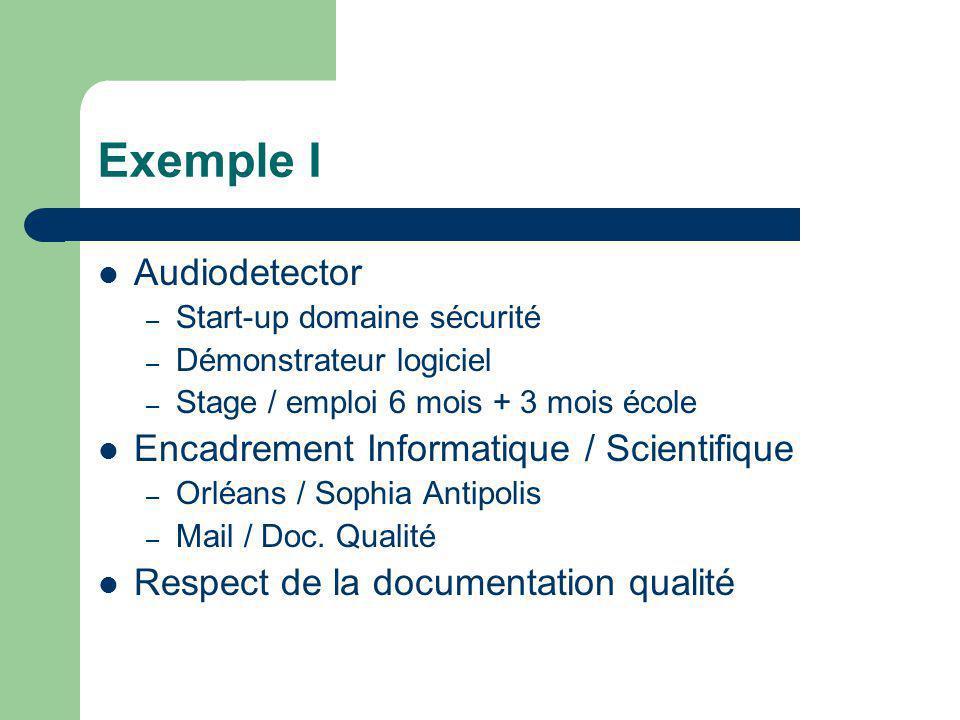 Exemple I Audiodetector – Start-up domaine sécurité – Démonstrateur logiciel – Stage / emploi 6 mois + 3 mois école Encadrement Informatique / Scienti