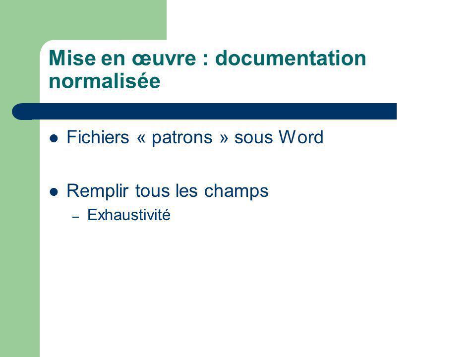 Mise en œuvre : documentation normalisée Fichiers « patrons » sous Word Remplir tous les champs – Exhaustivité