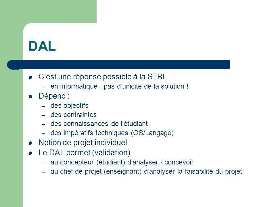 DAL C'est une réponse possible à la STBL – en informatique : pas d'unicité de la solution ! Dépend : – des objectifs – des contraintes – des connaissa