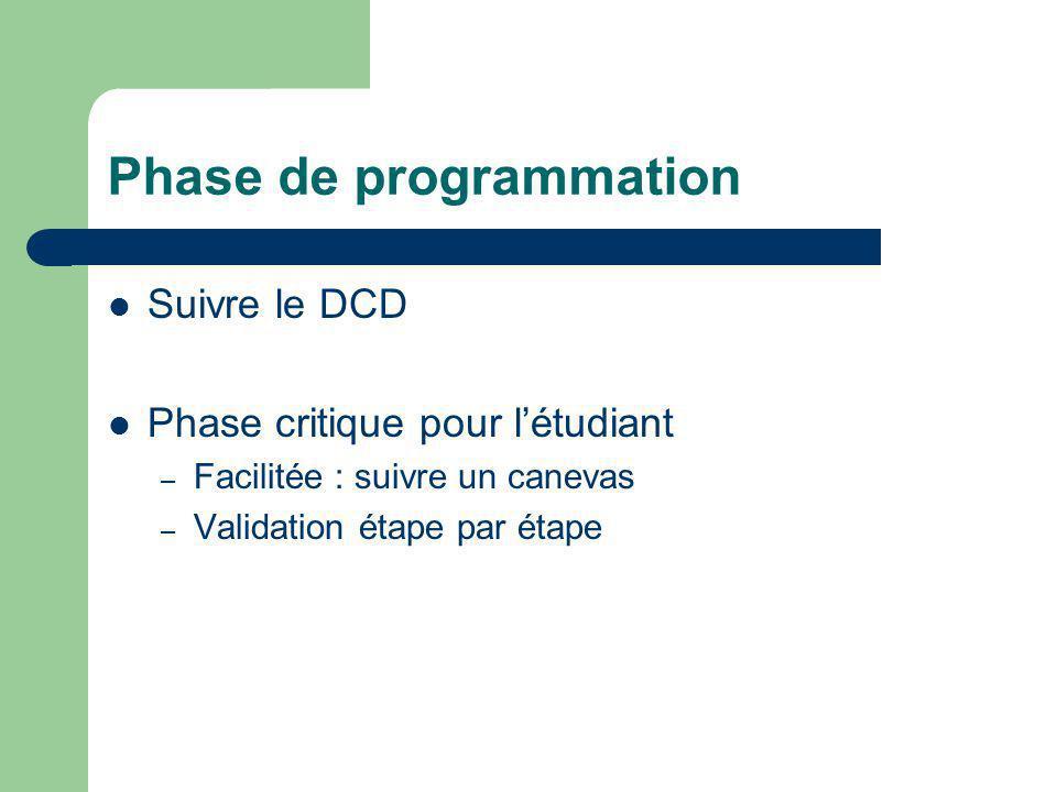 Phase de programmation Suivre le DCD Phase critique pour l'étudiant – Facilitée : suivre un canevas – Validation étape par étape