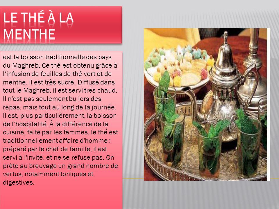 est la boisson traditionnelle des pays du Maghreb. Ce thé est obtenu grâce à l'infusion de feuilles de thé vert et de menthe. Il est très sucré. Diffu
