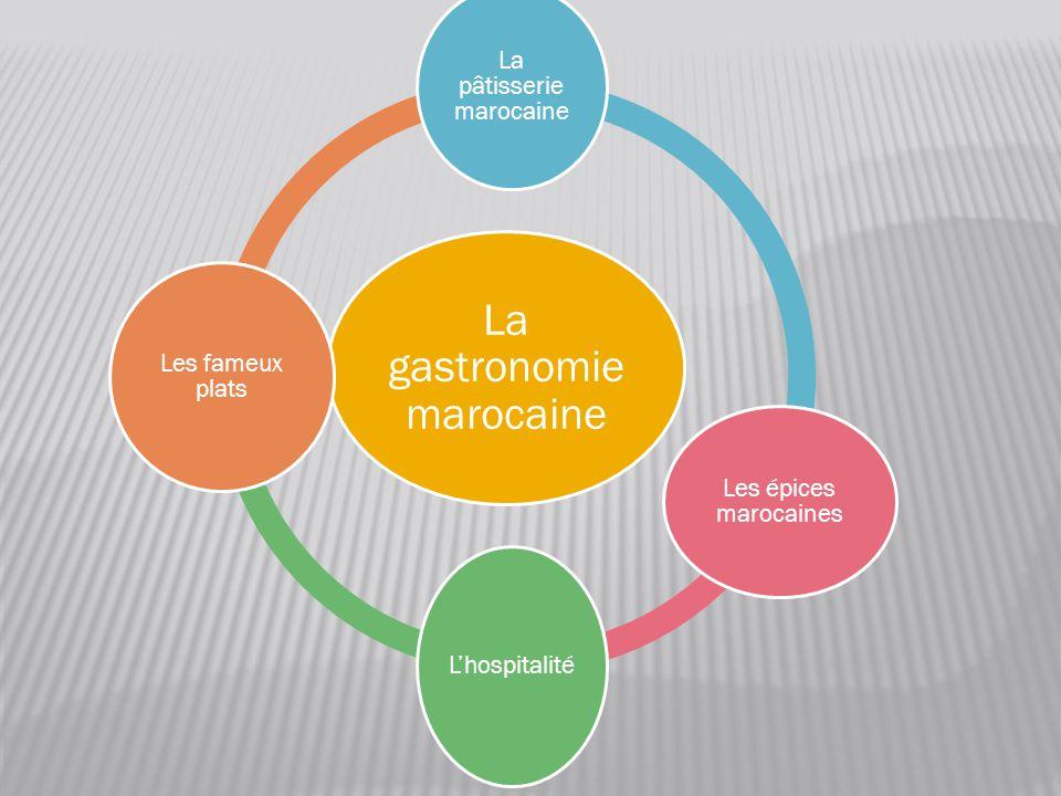 La gastronomie marocaine La pâtisserie marocaine Les épices marocaines L'hospitalité Les fameux plats