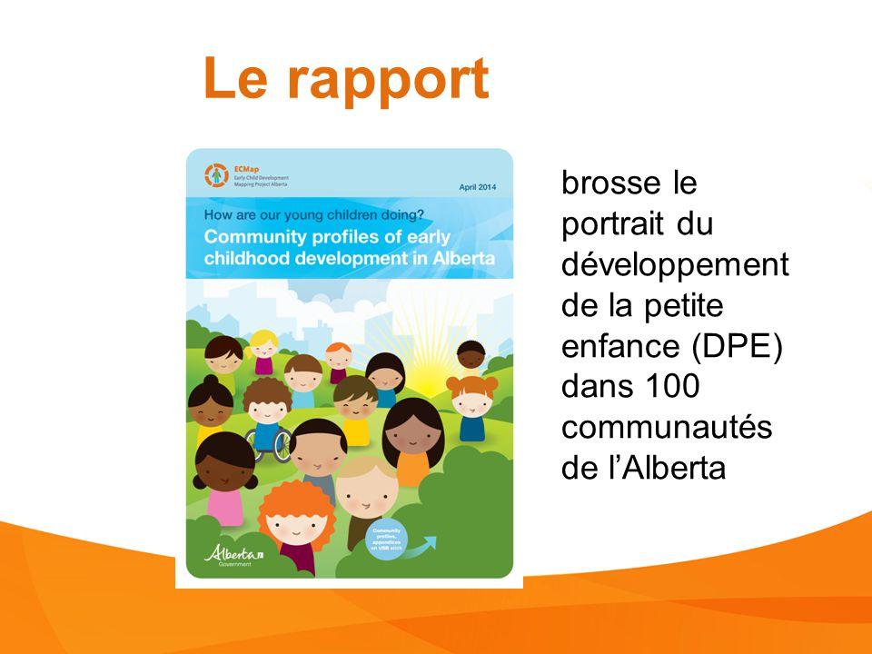 Le rapport brosse le portrait du développement de la petite enfance (DPE) dans 100 communautés de l'Alberta