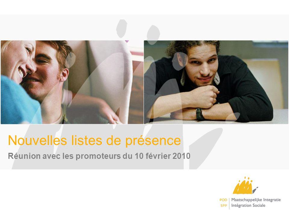 Nouvelles listes de présence Réunion avec les promoteurs du 10 février 2010