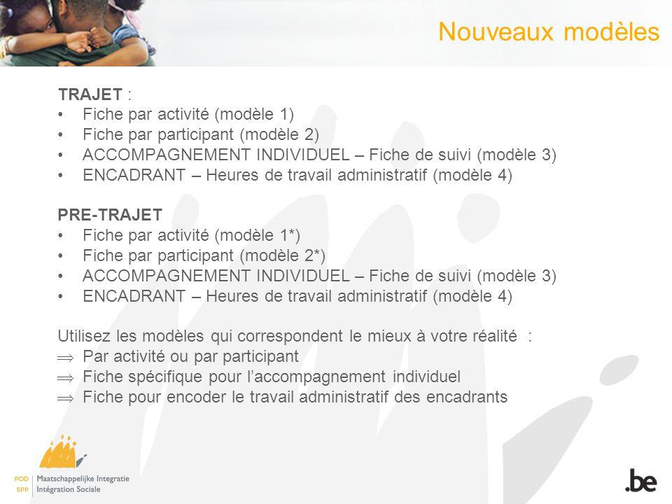 Nouveaux modèles TRAJET : Fiche par activité (modèle 1) Fiche par participant (modèle 2) ACCOMPAGNEMENT INDIVIDUEL – Fiche de suivi (modèle 3) ENCADRA