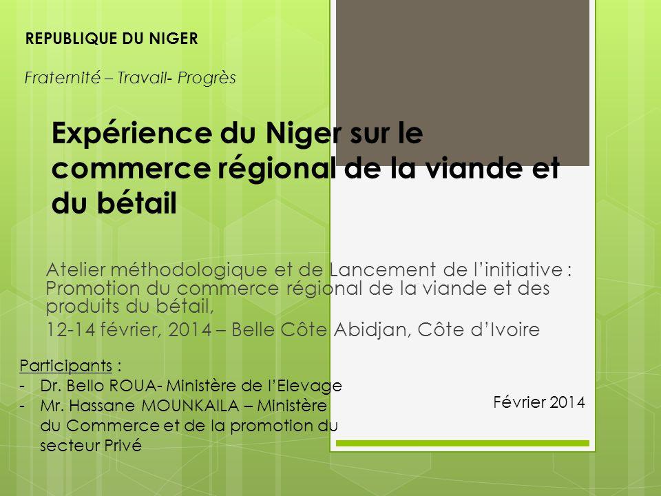 Contexte Le Niger est un pays sahélien à vocation pastorale avec le meilleur avantage comparatif pour l'élevage dans la sous-région: Zone pastorale d'une superficie de 60 millions d'ha; Le capital bétail est estimé à plus de 2 000 milliards de francs CFA pour plus de 14 millions d'UBT; En 2012, il a été exporté sur pied plus de 504 000 gros ruminants dont plus de 425 000 bovins et plus de 2 100 000 petits ruminants.