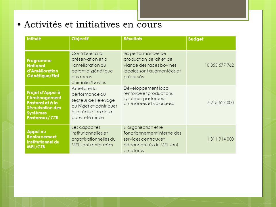 Activités et initiatives en cours/Suite D'autres projets ont des volets élevage importants, comme exemple : -Le PRACC (Projet d'appui à la croissance et à la compétitivité) ; -Le PAC (Projet d'Appui Communautaire); -PAC/RC (Résilience climatique); -PRODEX (Projet de développement des Exportation des Produits Agro- Sylvo-Pastoraux); -Le Projet de Productivité Agricole d'Afrique de l'Ouest (PPAAO) – Spécialité élevage.