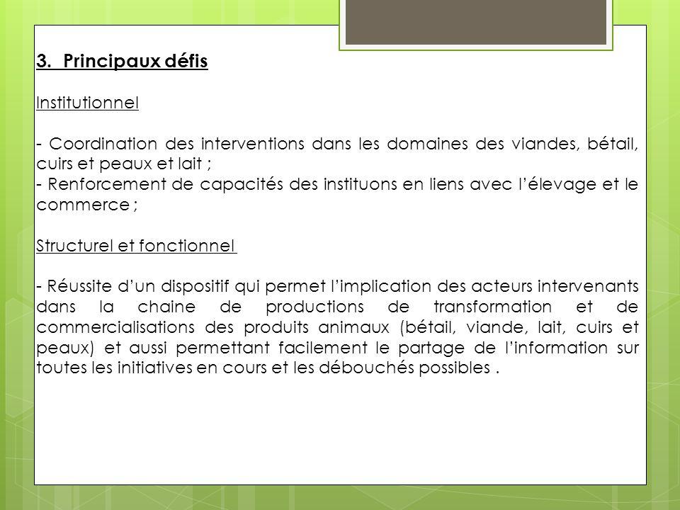 3. Principaux défis Institutionnel - Coordination des interventions dans les domaines des viandes, bétail, cuirs et peaux et lait ; - Renforcement de