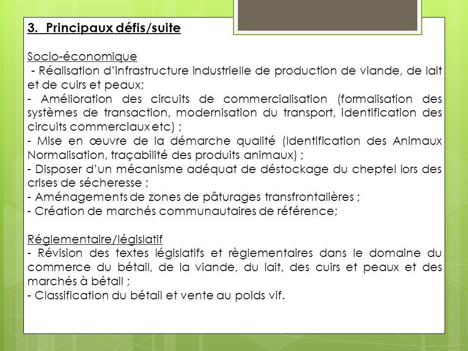 Principales recommandations -Développer les productions locales du bétail et dérivés; -Créer des marchés de bétail et des unités industrielles dans les zones de production ; -Faciliter les procédures commerciales et d'exportation des produits animaux; -Réhabilitation des zones pastorales et développement de services adéquats.