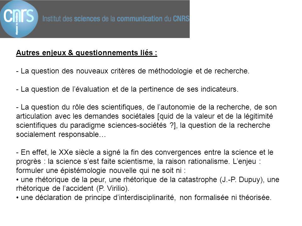 Autres enjeux & questionnements liés : - La question des nouveaux critères de méthodologie et de recherche. - La question de l'évaluation et de la per