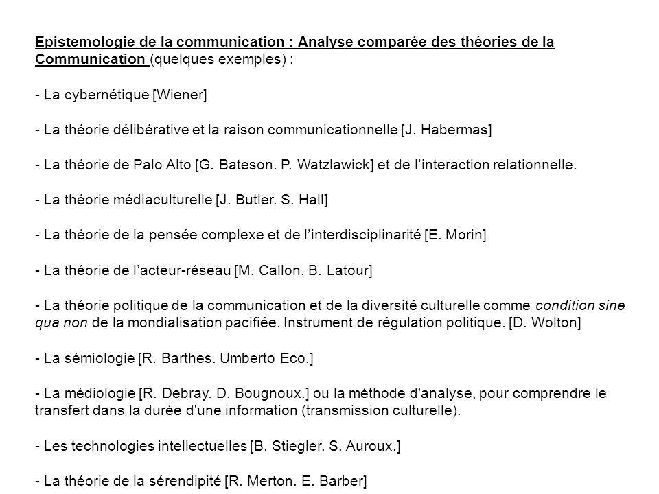 Epistemologie de la communication : Analyse comparée des théories de la Communication (quelques exemples) : - La cybernétique [Wiener] - La théorie dé