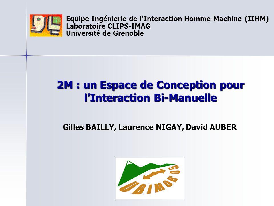 Equipe Ingénierie de l'Interaction Homme-Machine (IIHM) Laboratoire CLIPS-IMAG Universit é de Grenoble 2M : un Espace de Conception pour l'Interaction