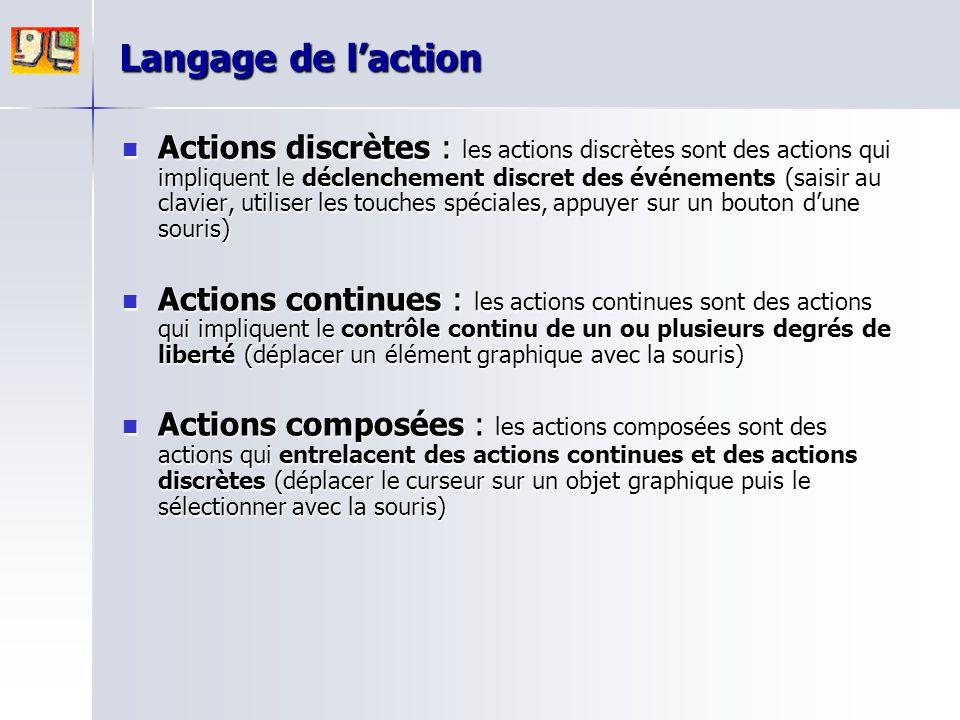 Langage de l'action Actions discrètes : les actions discrètes sont des actions qui impliquent le déclenchement discret des événements (saisir au clavi