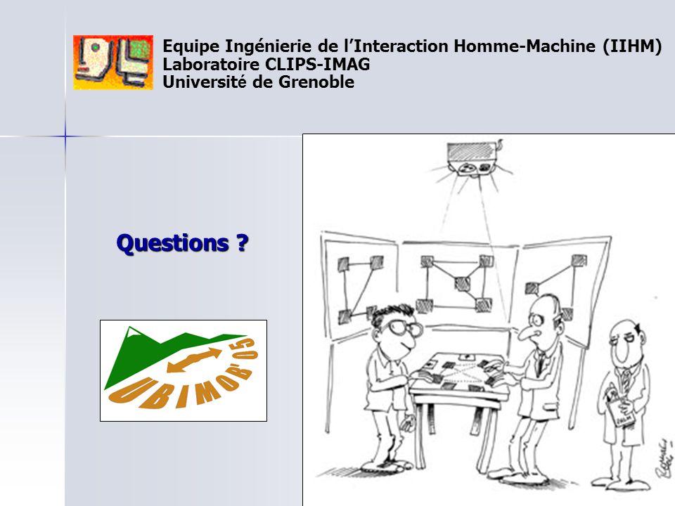 Equipe Ingénierie de l'Interaction Homme-Machine (IIHM) Laboratoire CLIPS-IMAG Universit é de Grenoble Questions ?