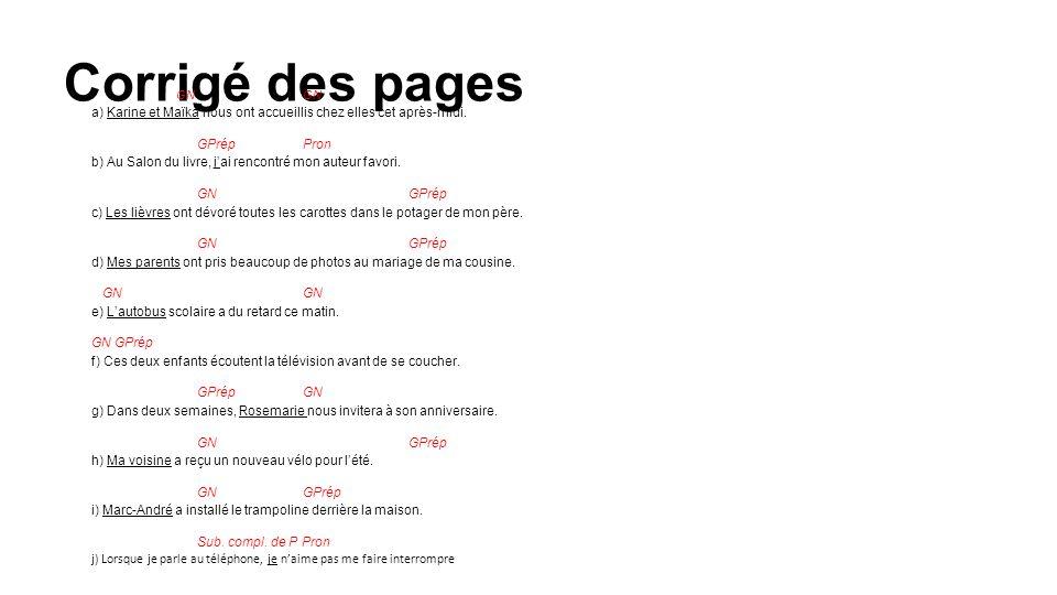 Corrigé des pages 1.Nommez les quatre types de phrases.