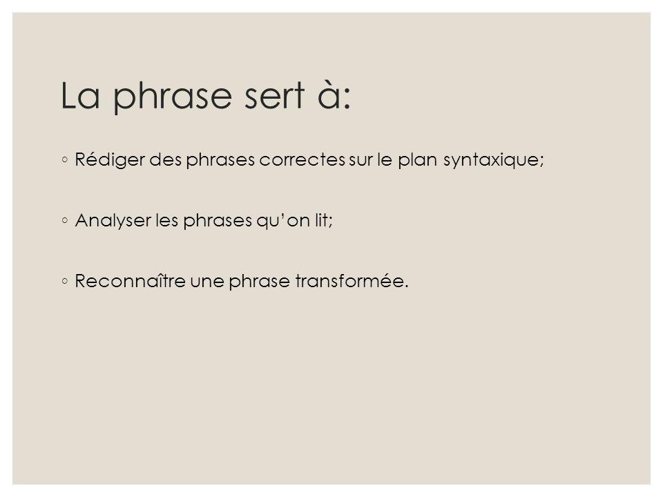 La phrase sert à: ◦ Rédiger des phrases correctes sur le plan syntaxique; ◦ Analyser les phrases qu'on lit; ◦ Reconnaître une phrase transformée.