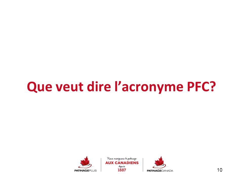 Que veut dire l'acronyme PFC? 10