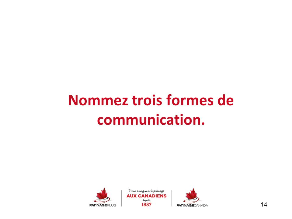 Nommez trois formes de communication. 14