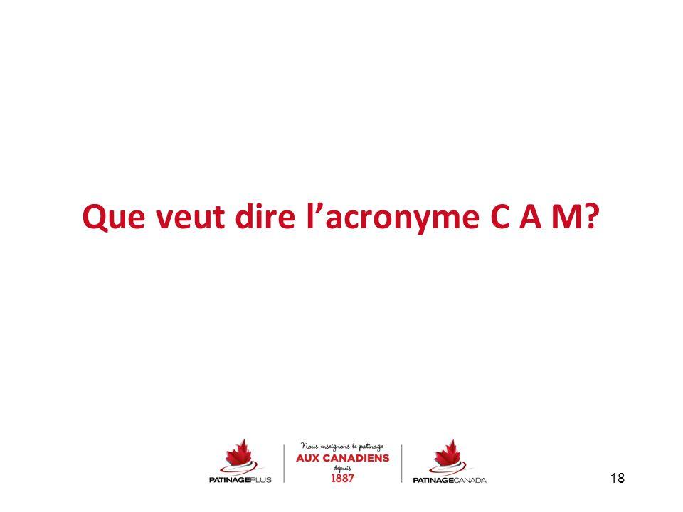 Que veut dire l'acronyme C A M? 18