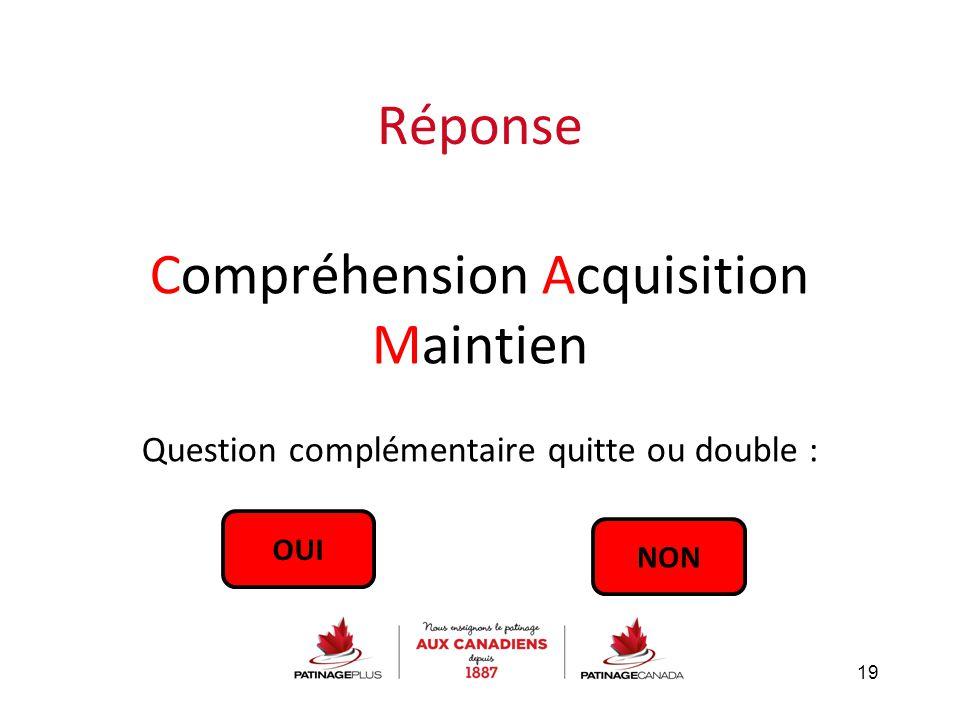 Réponse Compréhension Acquisition Maintien Question complémentaire quitte ou double : 19 OUI NON