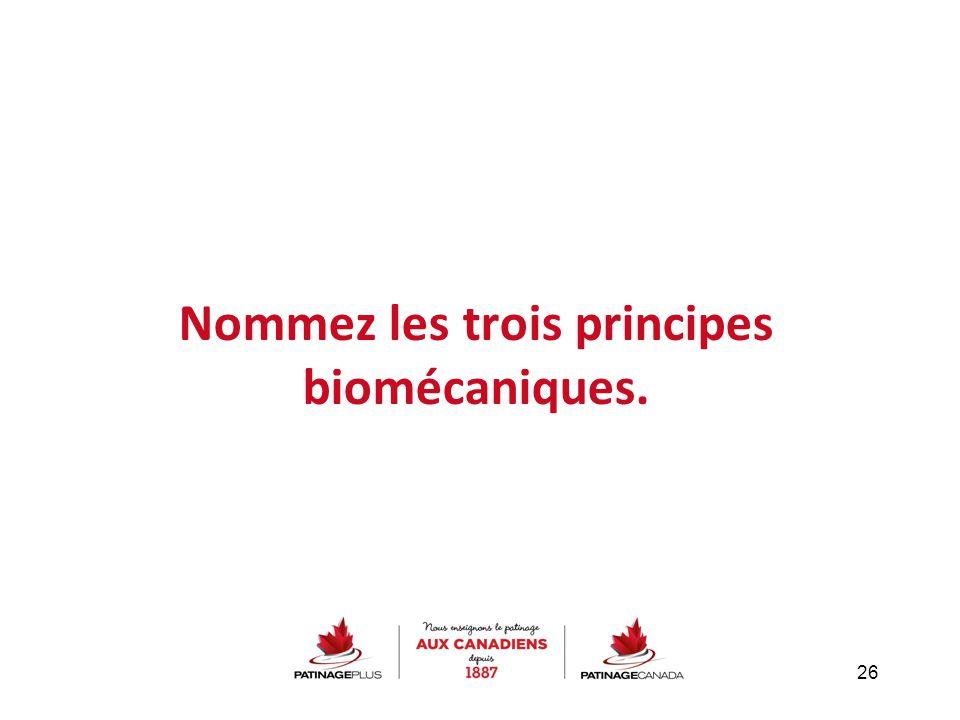 Nommez les trois principes biomécaniques. 26