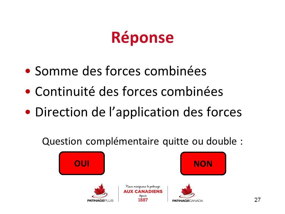Réponse Somme des forces combinées Continuité des forces combinées Direction de l'application des forces Question complémentaire quitte ou double : 27