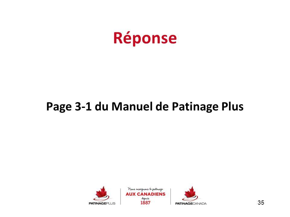 Réponse Page 3-1 du Manuel de Patinage Plus 35