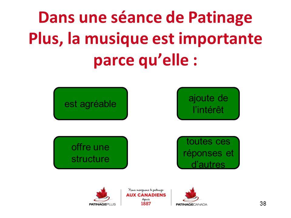 Dans une séance de Patinage Plus, la musique est importante parce qu'elle : 38 offre une structure est agréable toutes ces réponses et d'autres ajoute
