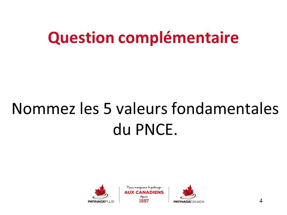Question complémentaire Nommez les 5 valeurs fondamentales du PNCE. 4