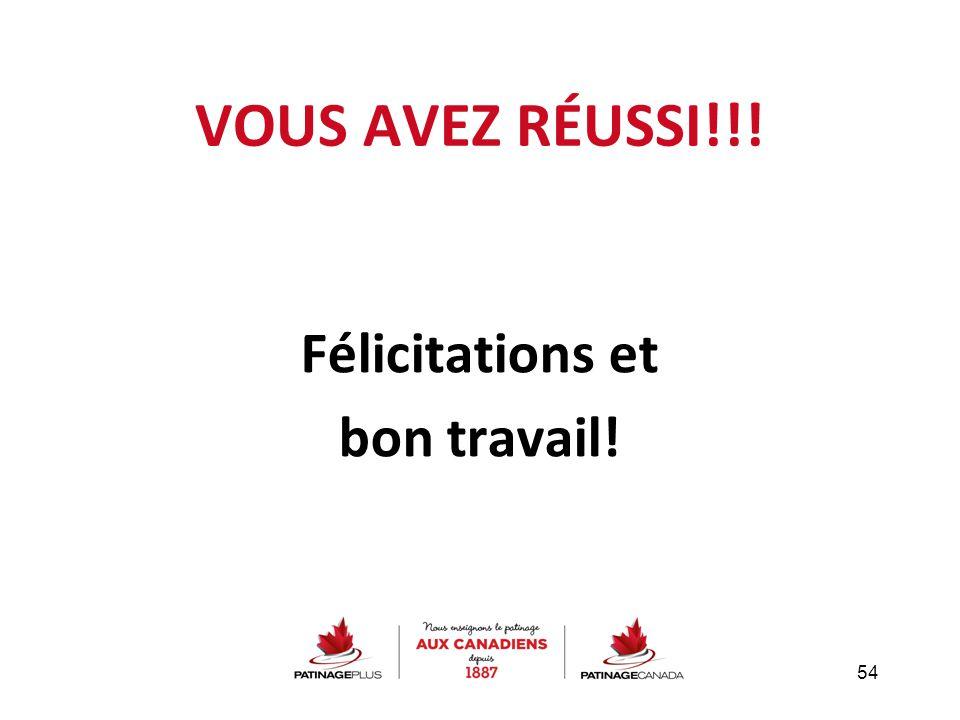 VOUS AVEZ RÉUSSI!!! Félicitations et bon travail! 54