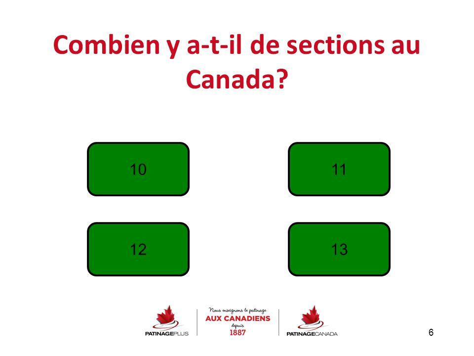 Combien y a-t-il de sections au Canada? 6 10 1213 11