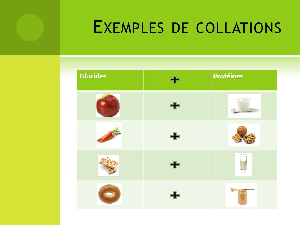 GlucidesProtéines E XEMPLES DE COLLATIONS