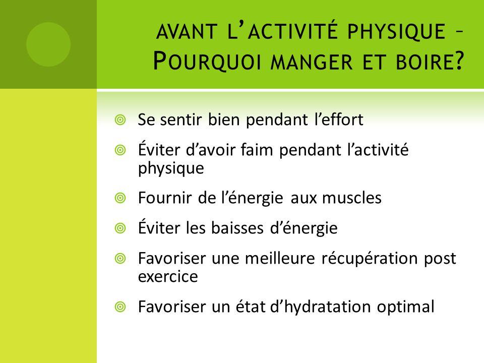 AVANT L ' ACTIVITÉ PHYSIQUE – P OURQUOI MANGER ET BOIRE ?  Se sentir bien pendant l'effort  Éviter d'avoir faim pendant l'activité physique  Fourni