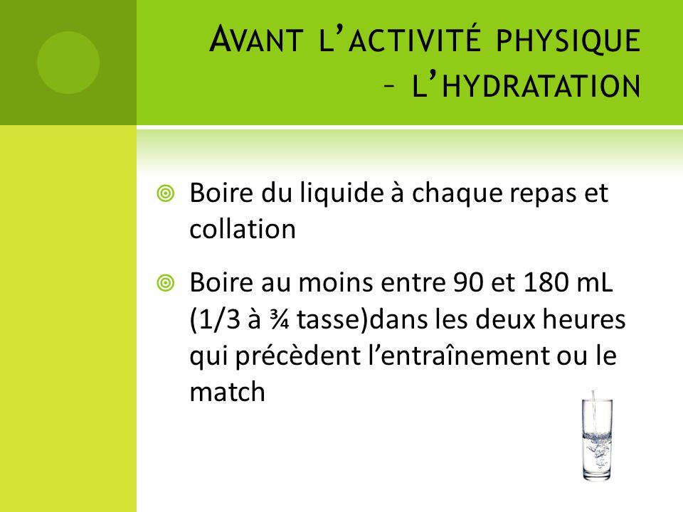 A VANT L ' ACTIVITÉ PHYSIQUE – L ' HYDRATATION  Boire du liquide à chaque repas et collation  Boire au moins entre 90 et 180 mL (1/3 à ¾ tasse)dans