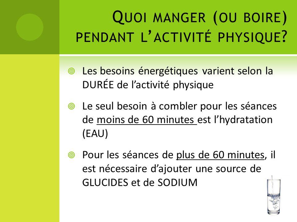 Q UOI MANGER ( OU BOIRE ) PENDANT L ' ACTIVITÉ PHYSIQUE ?  Les besoins énergétiques varient selon la DURÉE de l'activité physique  Le seul besoin à