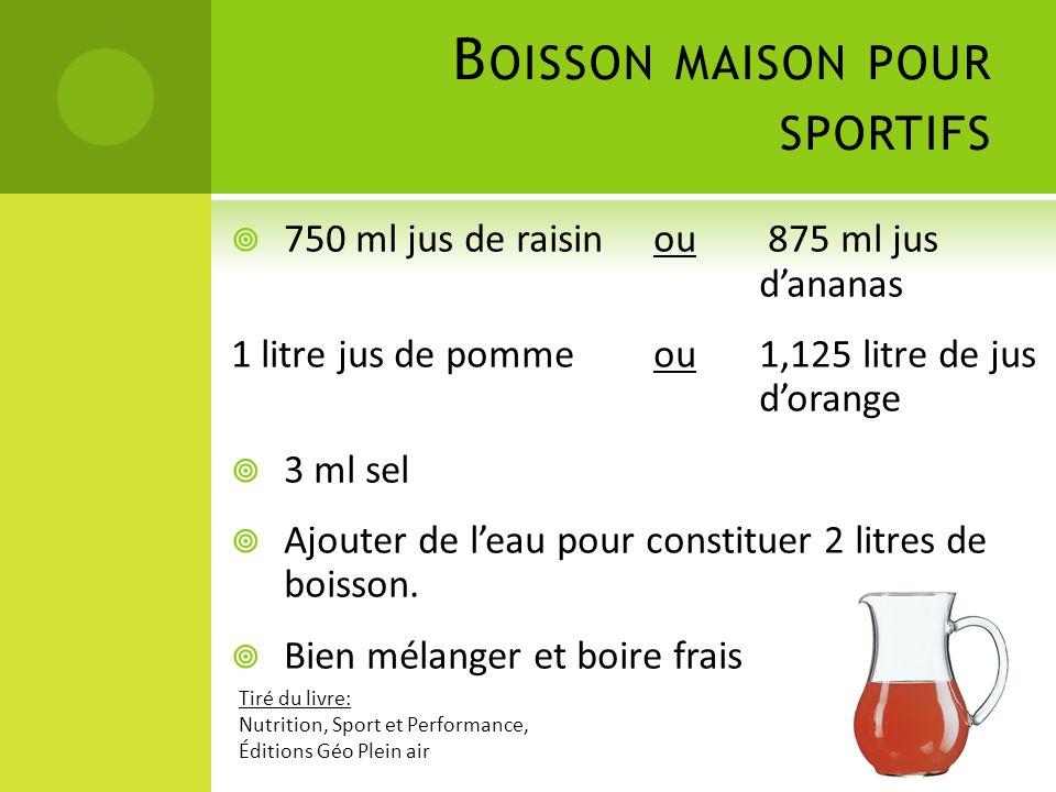 B OISSON MAISON POUR SPORTIFS  750 ml jus de raisin ou 875 ml jus d'ananas 1 litre jus de pommeou1,125 litre de jus d'orange  3 ml sel  Ajouter de