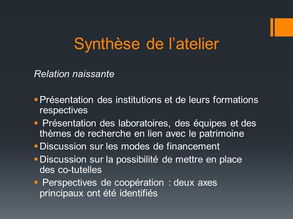 Synthèse de l'atelier Relation naissante  Présentation des institutions et de leurs formations respectives  Présentation des laboratoires, des équip