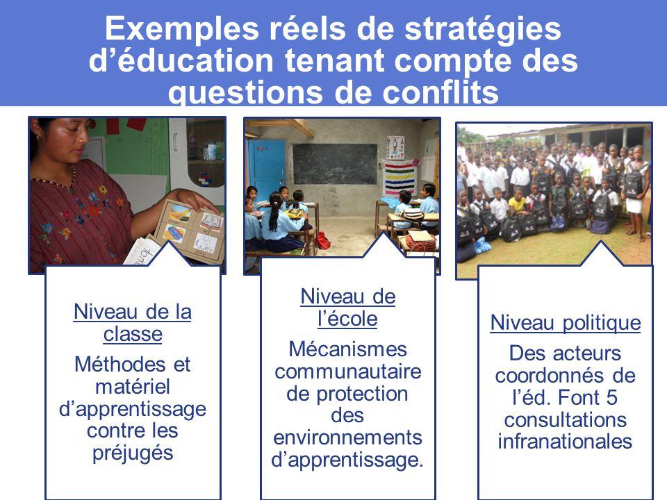 Exemples réels de stratégies d'éducation tenant compte des questions de conflits Niveau de la classe Méthodes et matériel d'apprentissage contre les préjugés Niveau de l'école Mécanismes communautaire de protection des environnements d'apprentissage.