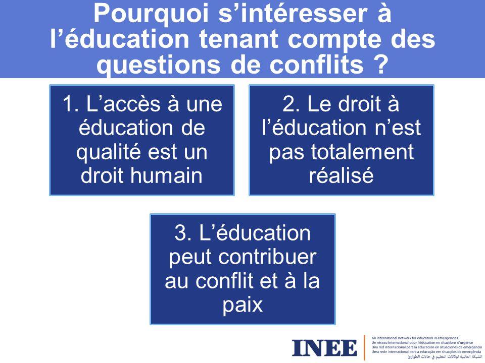 Ce qu'est/ ce que n'est pas l'éducation tenant compte des questions de conflit -Spécifique au contexte, reflétant les résultats d'une analyse participative du conflit -Un questionnement continu sur « comment » apporter l'éducation et « quoi » apporter.