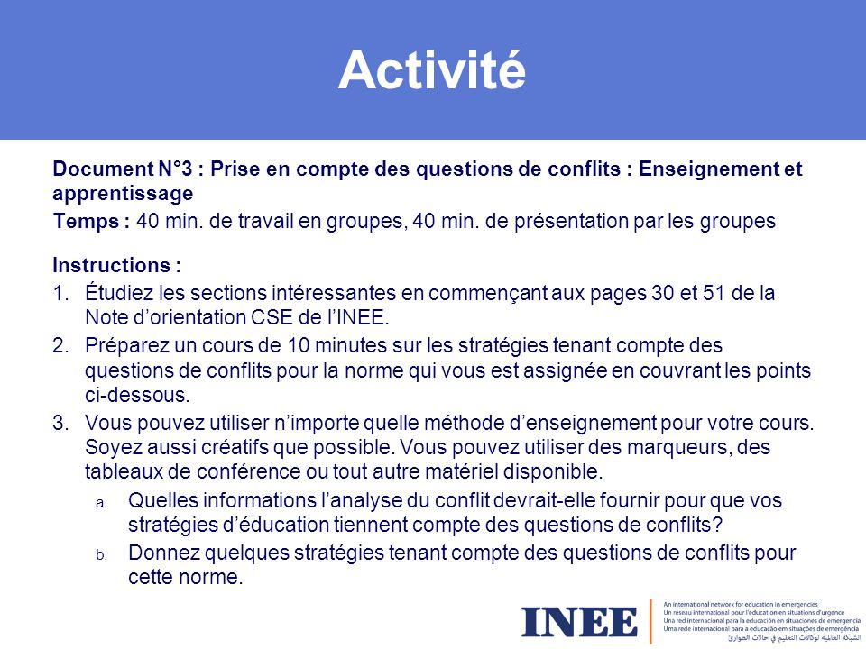 Activité Document N°3 : Prise en compte des questions de conflits : Enseignement et apprentissage Temps : 40 min.