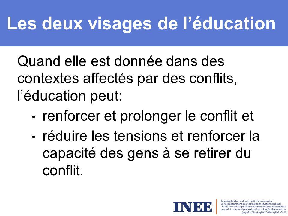Les deux visages de l'éducation Quand elle est donnée dans des contextes affectés par des conflits, l'éducation peut: renforcer et prolonger le conflit et réduire les tensions et renforcer la capacité des gens à se retirer du conflit.
