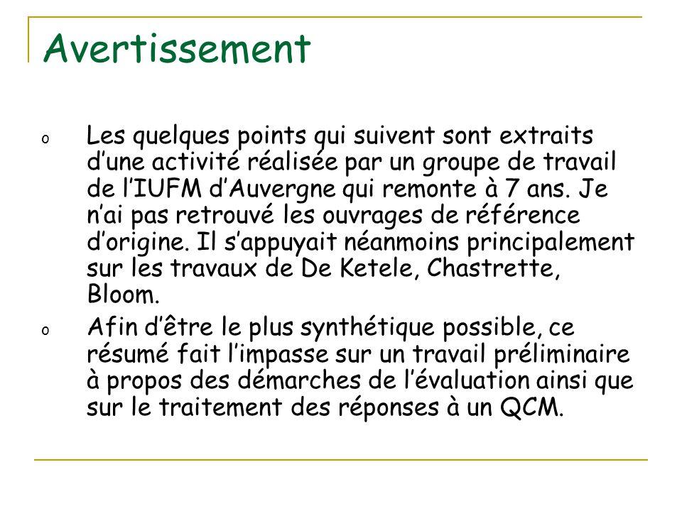 Avertissement o Les quelques points qui suivent sont extraits d'une activité réalisée par un groupe de travail de l'IUFM d'Auvergne qui remonte à 7 an