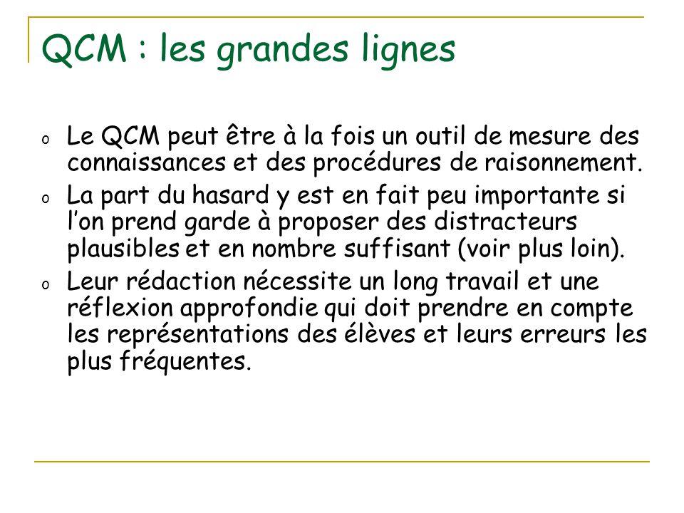 QCM : les grandes lignes o Le QCM peut être à la fois un outil de mesure des connaissances et des procédures de raisonnement. o La part du hasard y es