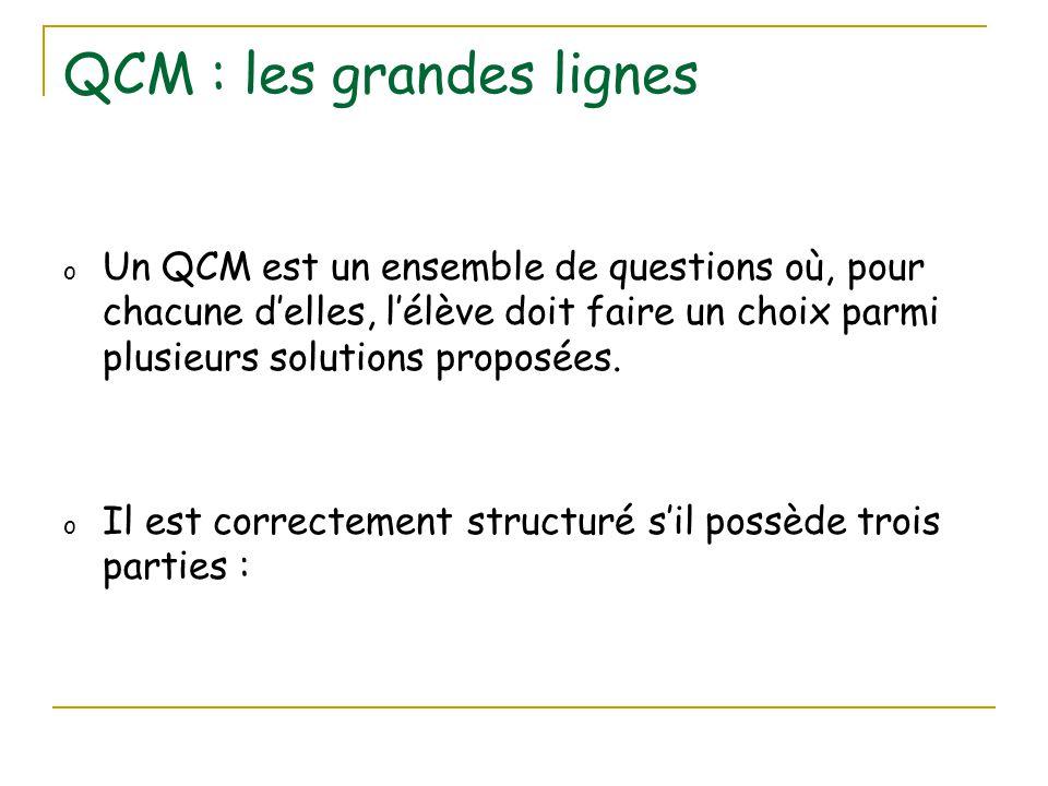 QCM : les grandes lignes o Un QCM est un ensemble de questions où, pour chacune d'elles, l'élève doit faire un choix parmi plusieurs solutions proposé
