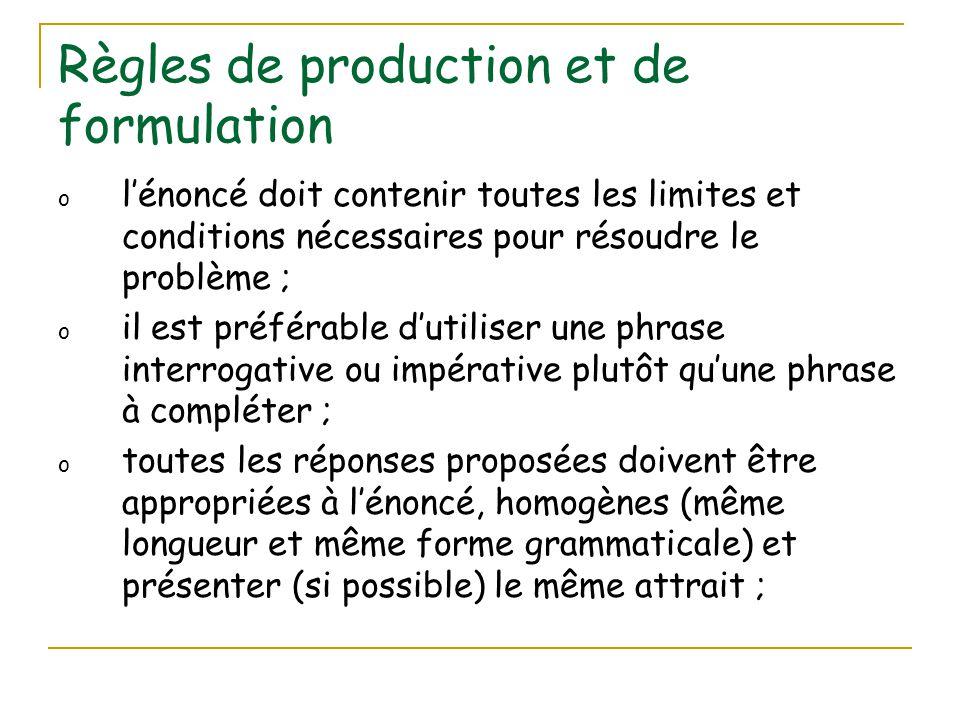 Règles de production et de formulation o l'énoncé doit contenir toutes les limites et conditions nécessaires pour résoudre le problème ; o il est préf